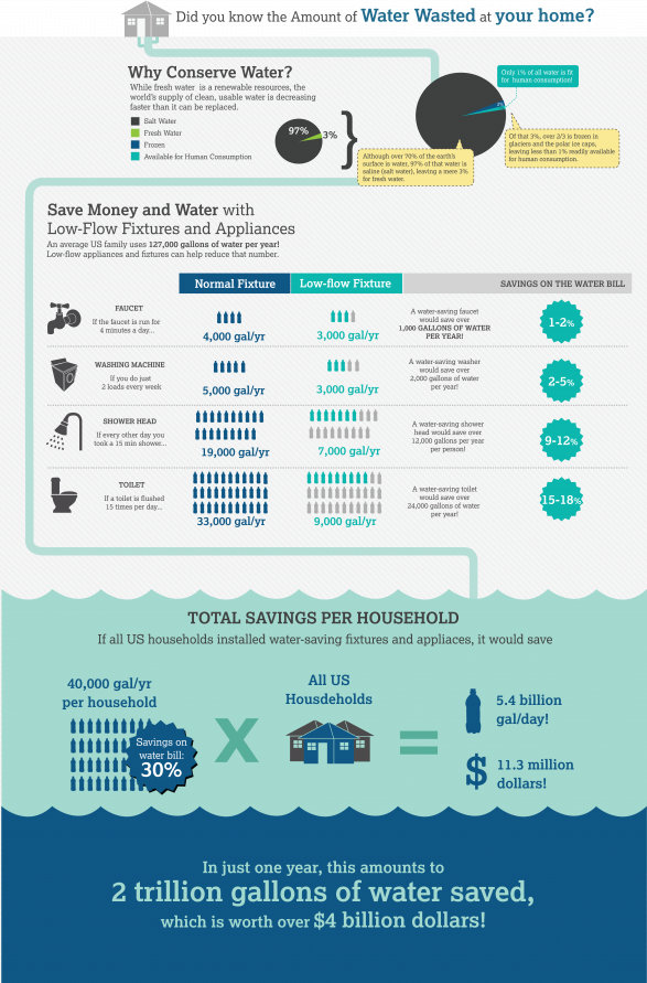 Amount of Water Wasted at your home