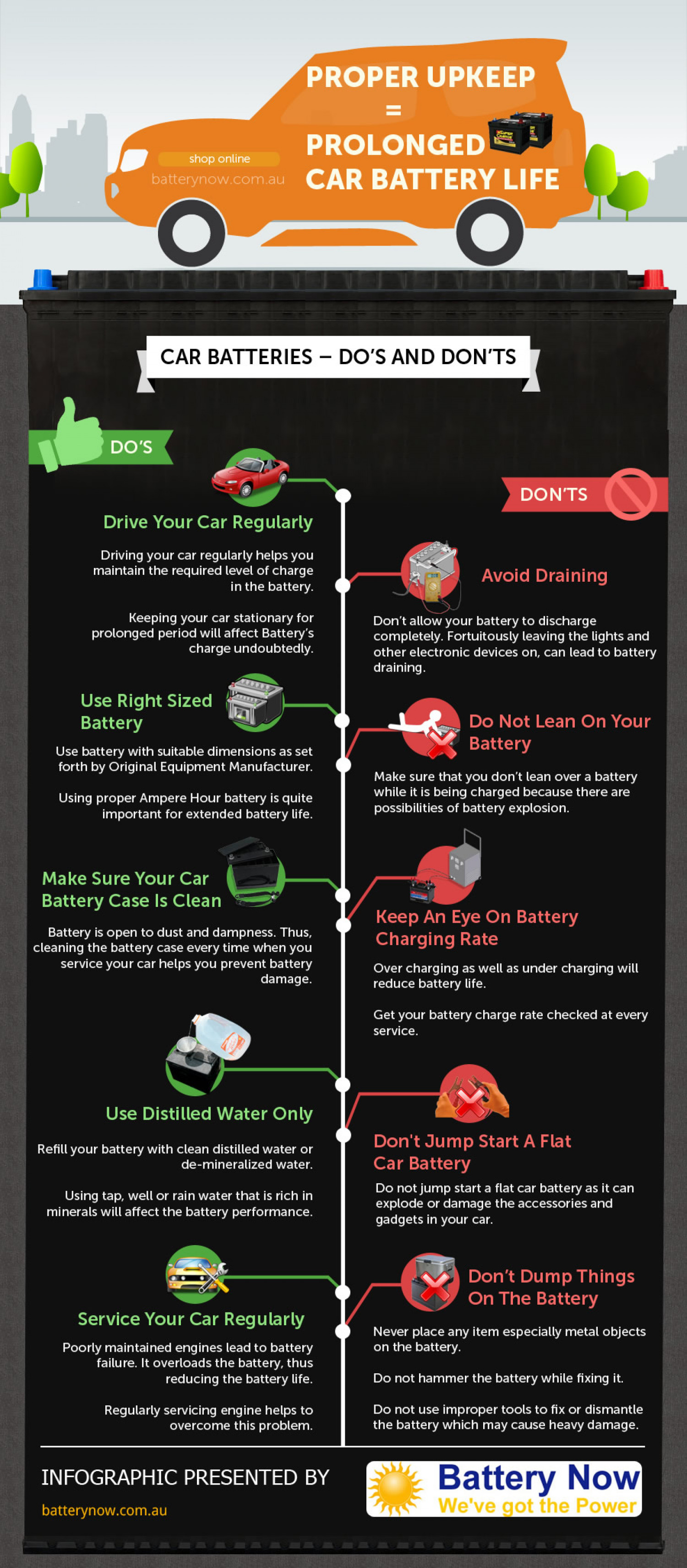 Proper Car Battery Upkeep Infographic
