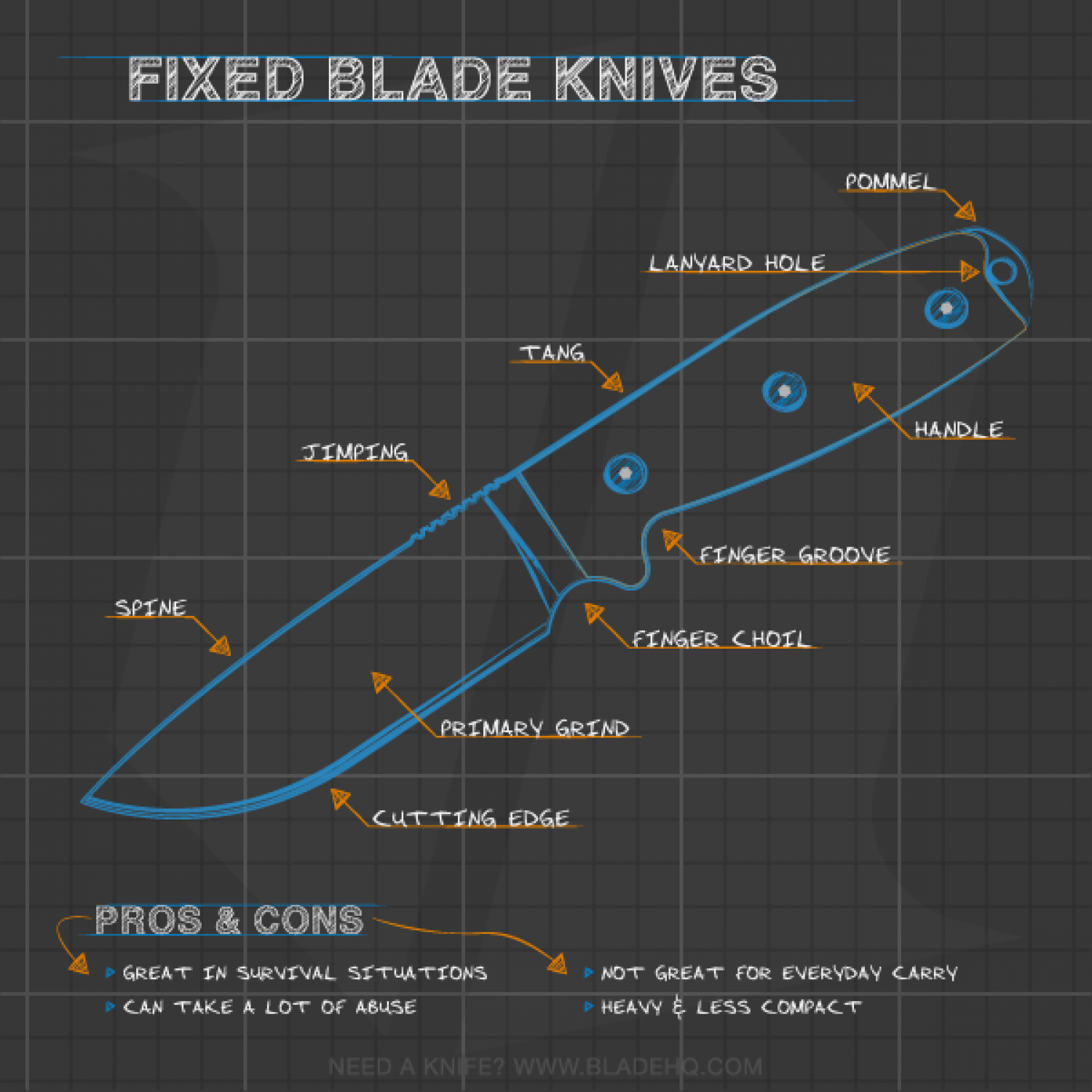 Anatomy of a Fixed Blade Knife Infographic