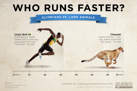 Animals Vs Olympians - Who Runs Faster? Infographic