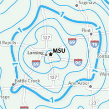 Approximate Drive Times To and From Michigan State University Infographic