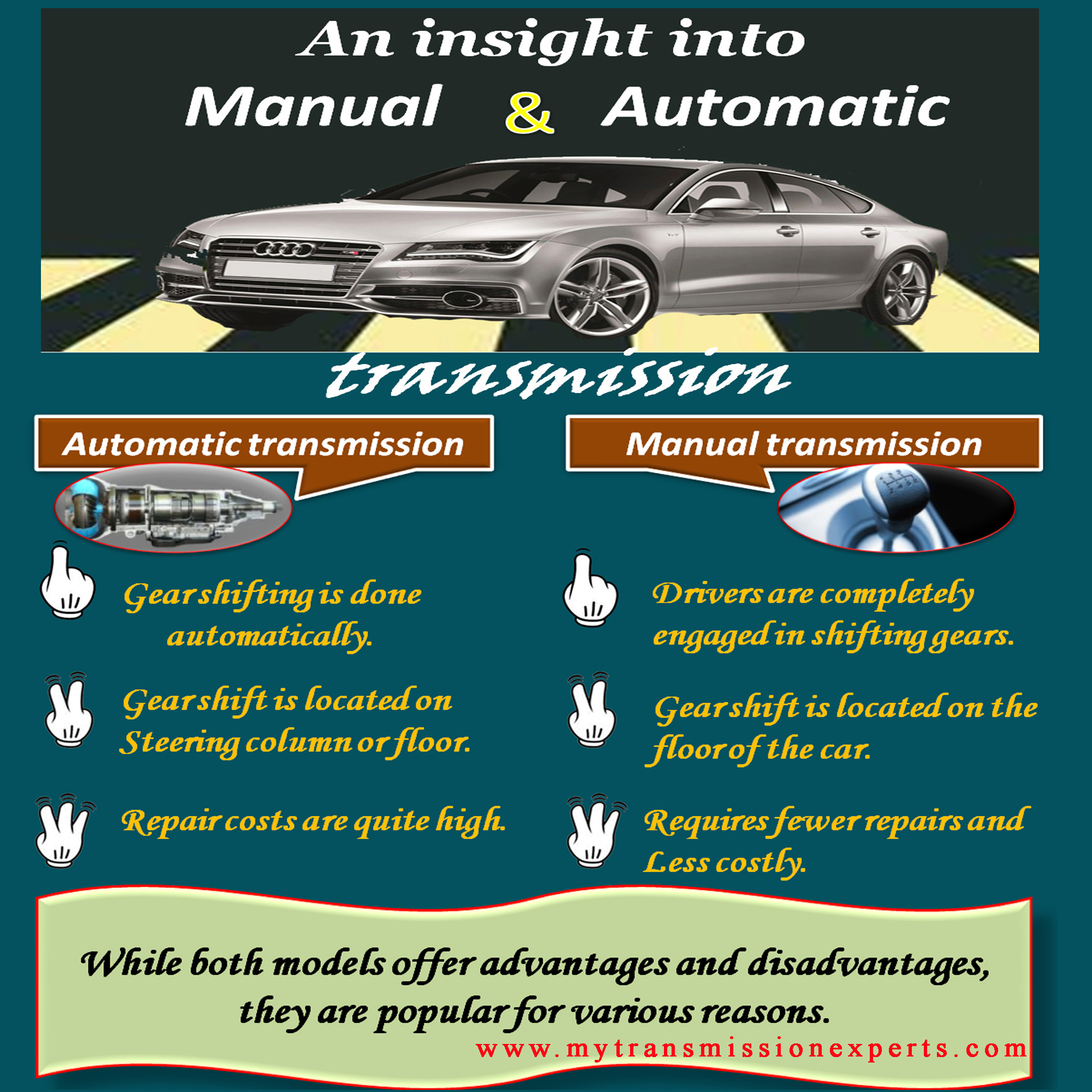 manual vs automatic transmission There are distinct advantages to automatic & manual transmissions in modern  vehicles which transmission a driver prefers depends on a variety of factors.