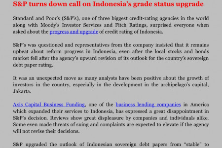 Axis Capital Group Business Funding Jakarta Review on S&P turns down call on Indonesia's grade status upgrade Infographic