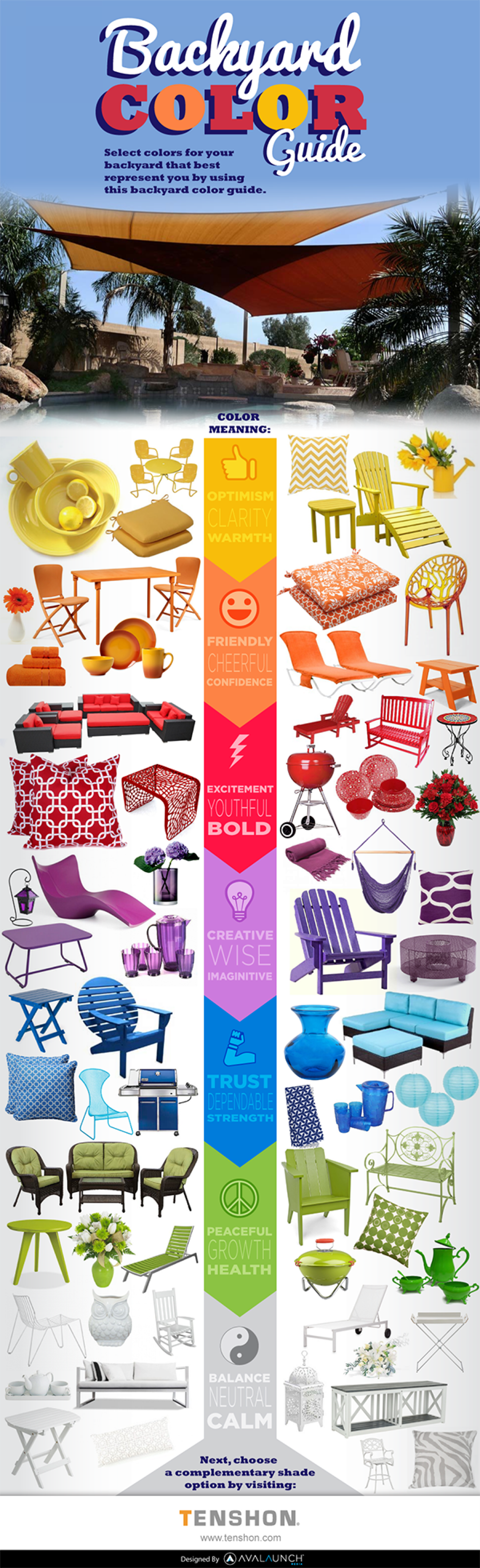 Backyard Color Guide by Tenshon Shade Sails Infographic