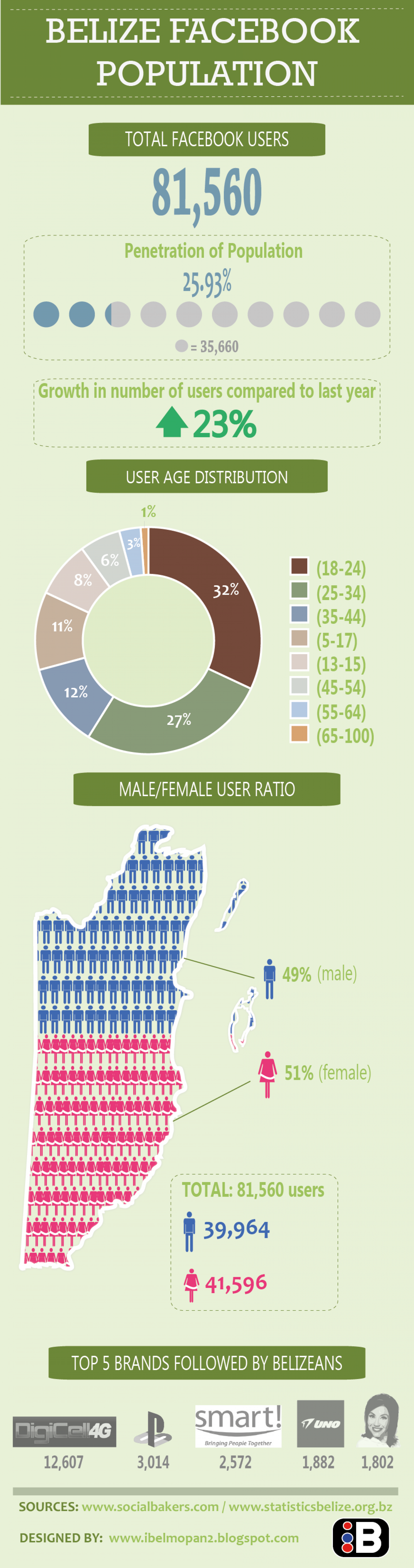 Belize Facebook Population 2013 Infographic