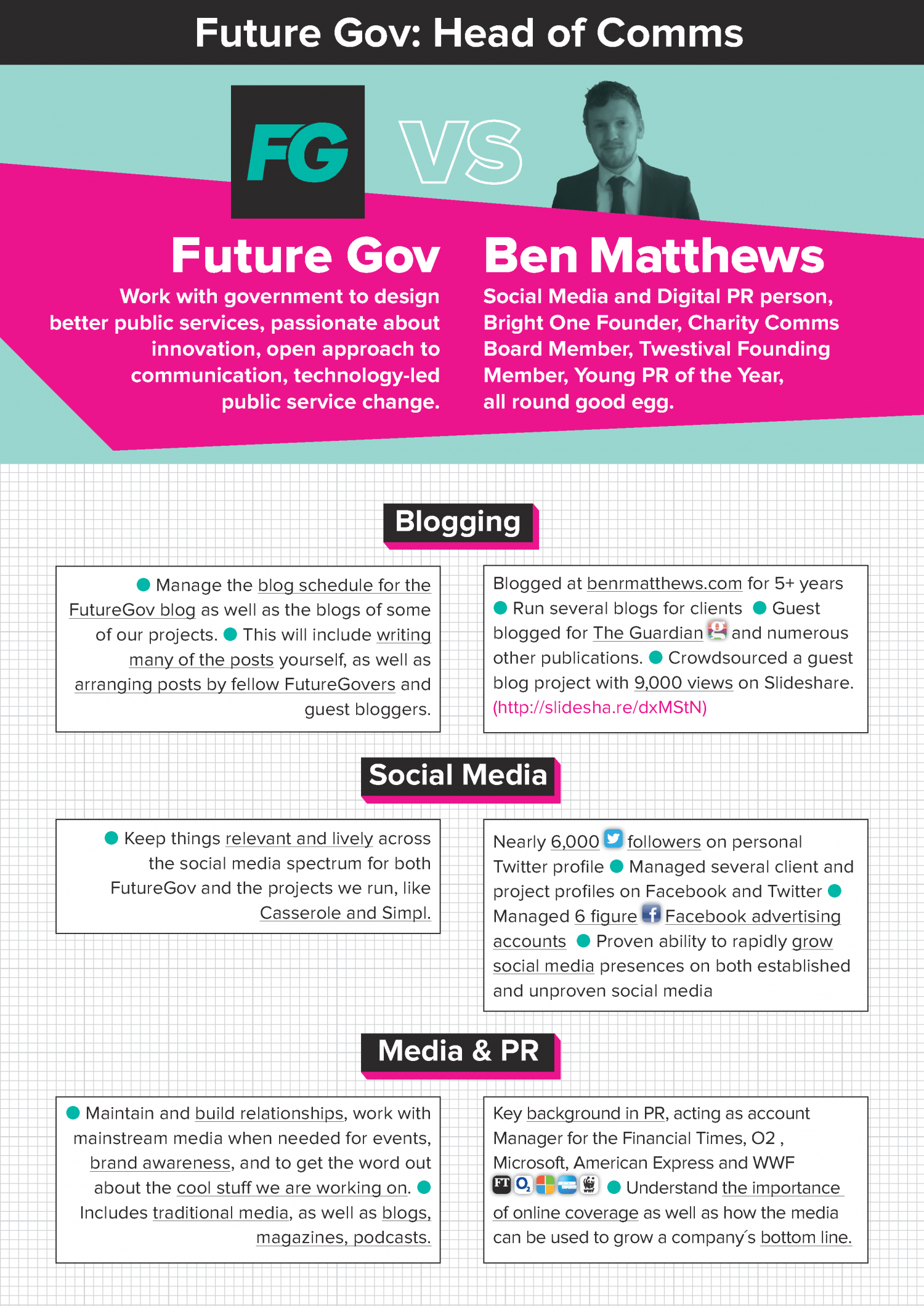 Ben Matthews Visual CV for FutureGov Infographic