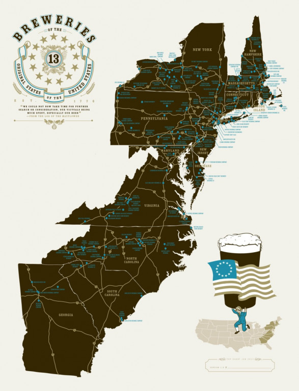 Breweries of the 13 Original States of the United States of America