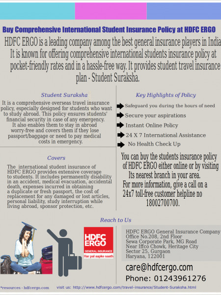 Buy Comprehensive International Student Insurance Policy at HDFC ERGO Infographic