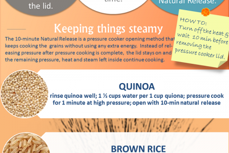 Bye, Bye Rice Cooker?!?! Pressure Cook Grains Faster Infographic