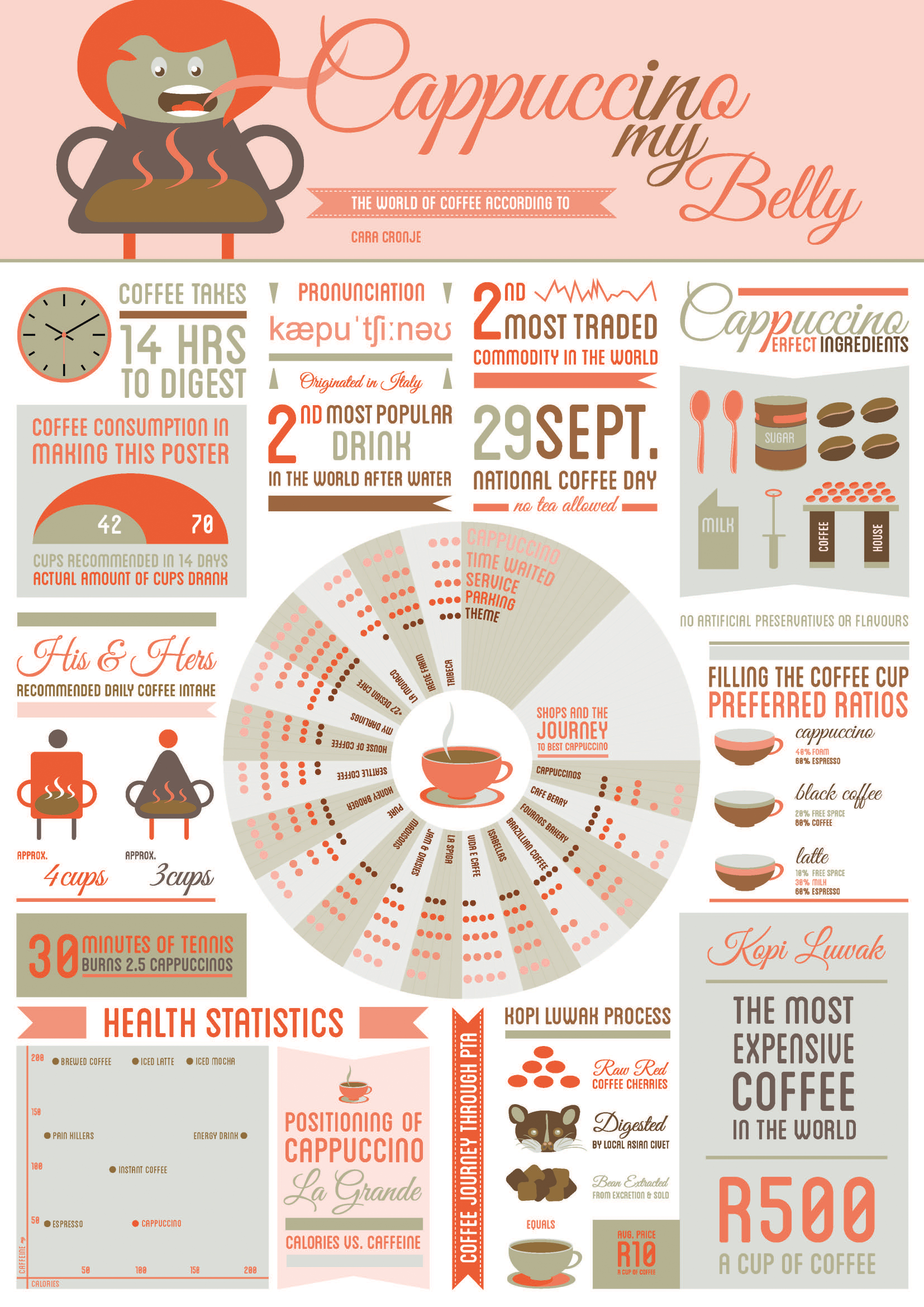 Cappuccino In My Belly [Infographic] ~ Visualistan