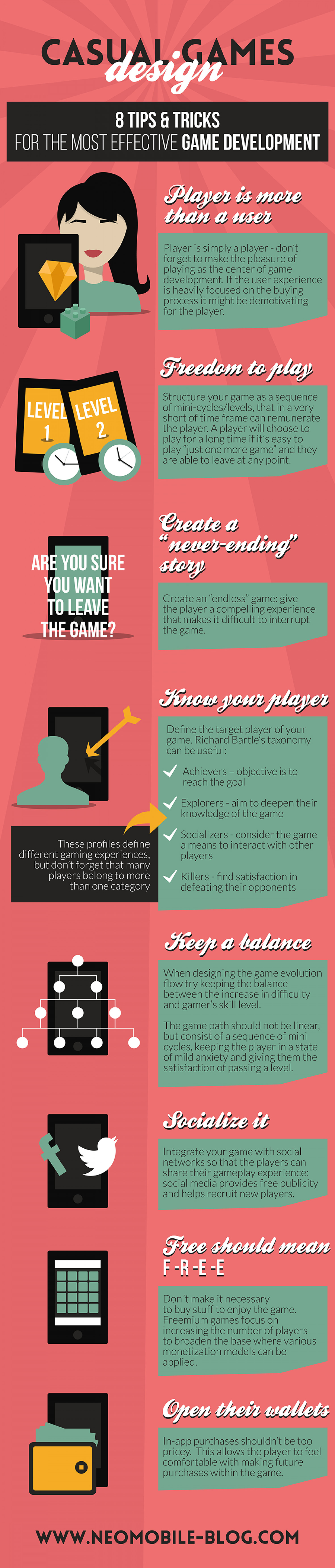 Casual games design: 8 useful tips and tricks that you shouldn't miss Infographic