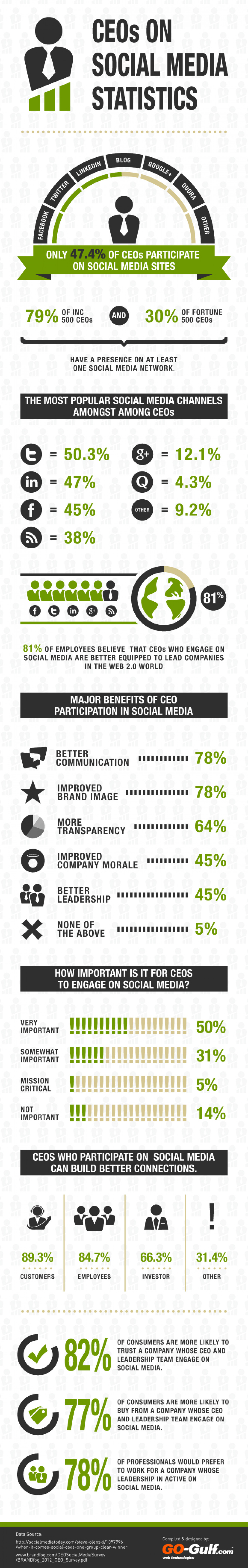 CEOs on Social Media Statistics Infographic