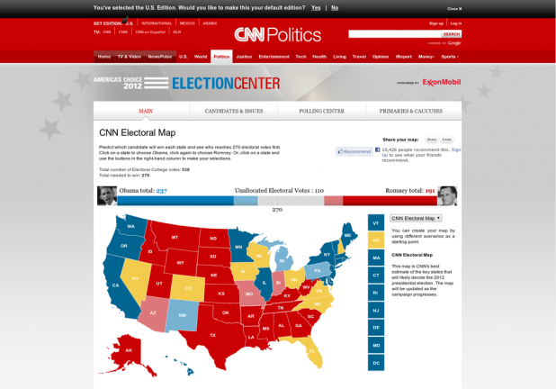 CNN 2012 Electoral Map