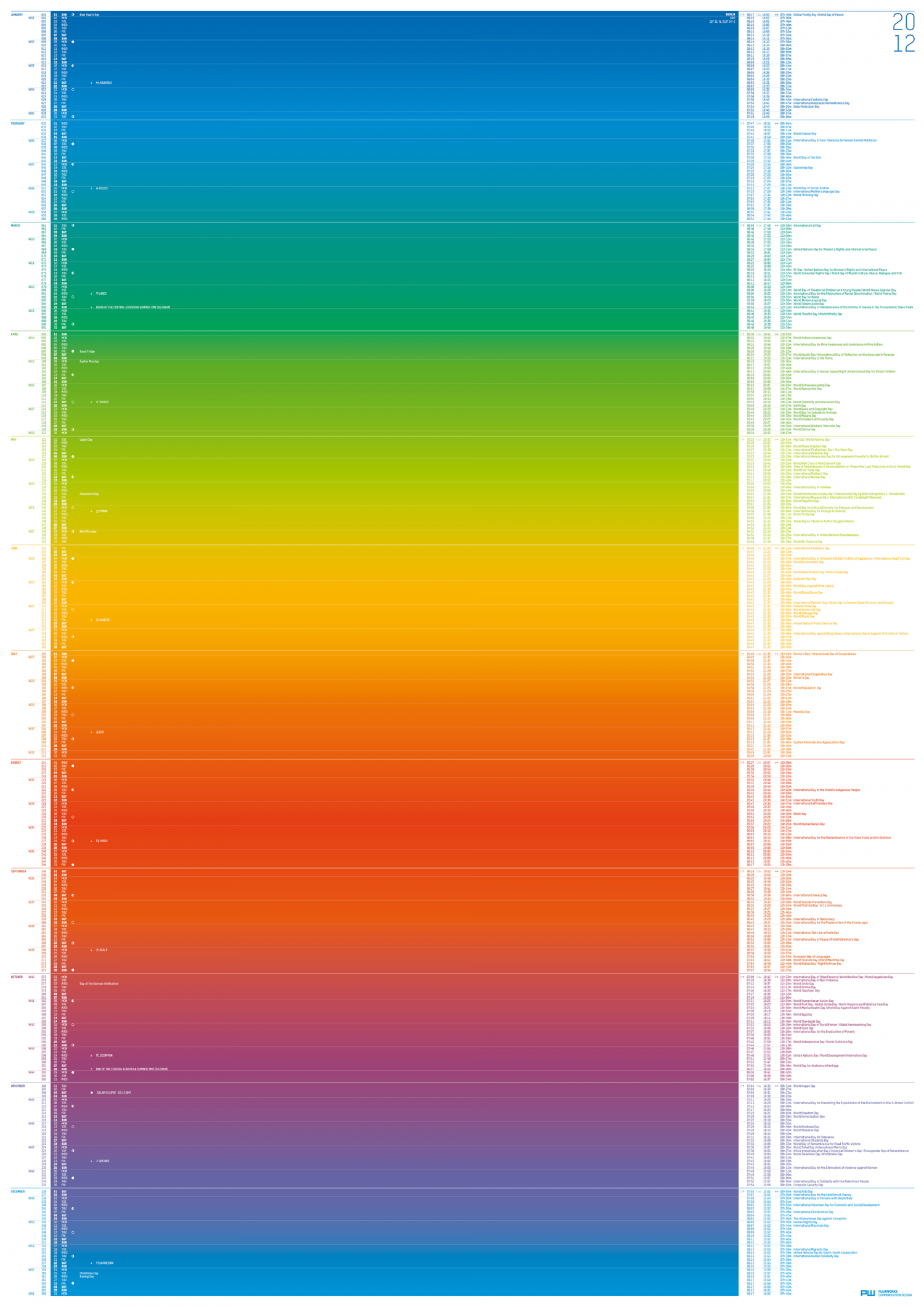 Color Calendar 2012 Infographic