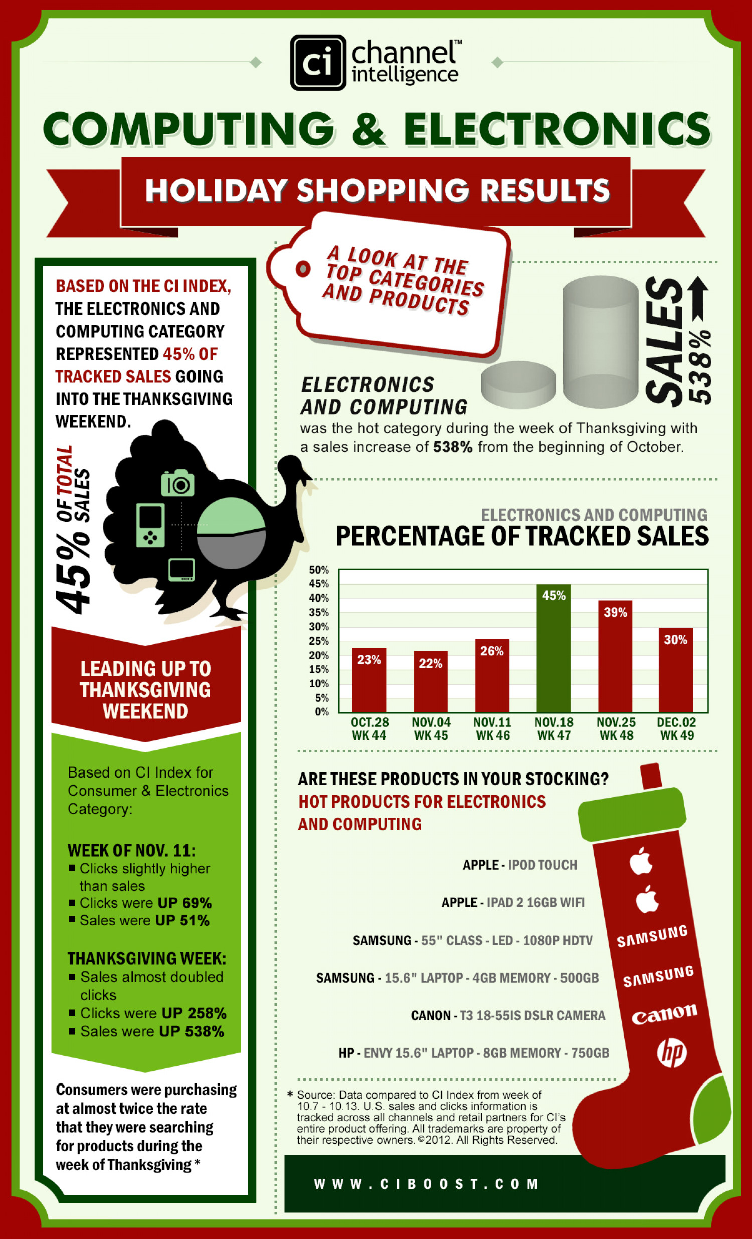 Computing & Electronics Holiday Shopping Results Infographic