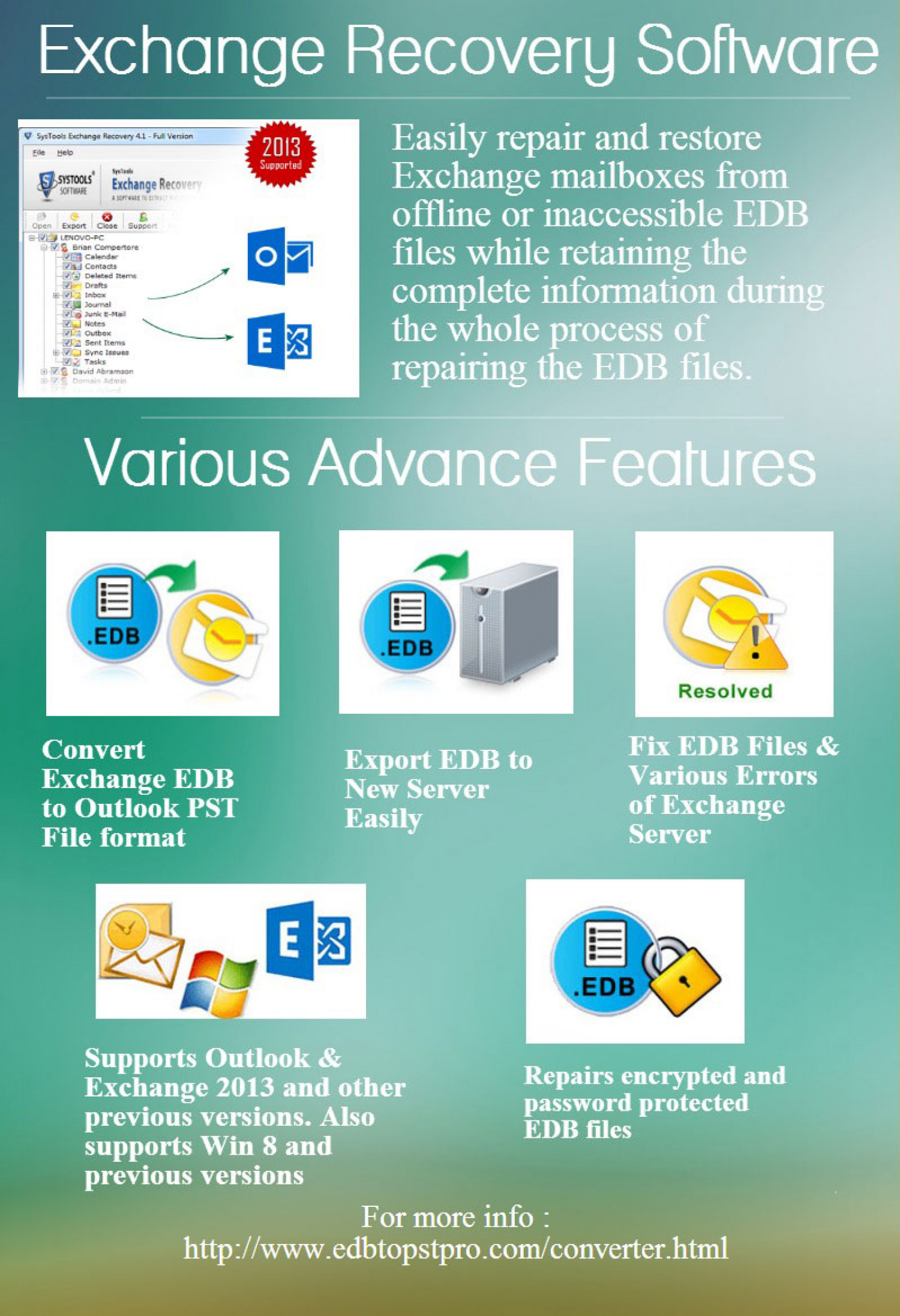 Convert Exchange Database to PST, EML, MSG or EDB file format Infographic