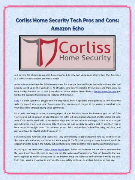 Corliss Home Security Tech Pros and Cons: Amazon Echo Infographic