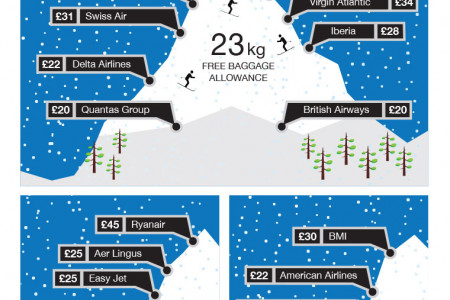 Cost of Flying With Ski Equipment Across Major Airlines  Infographic