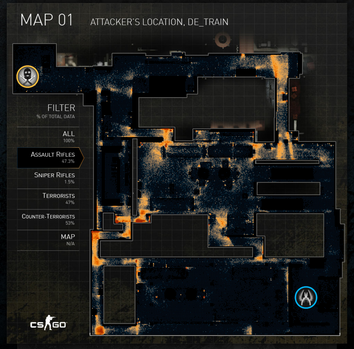 Counter Strike Attacker Locations Infographic