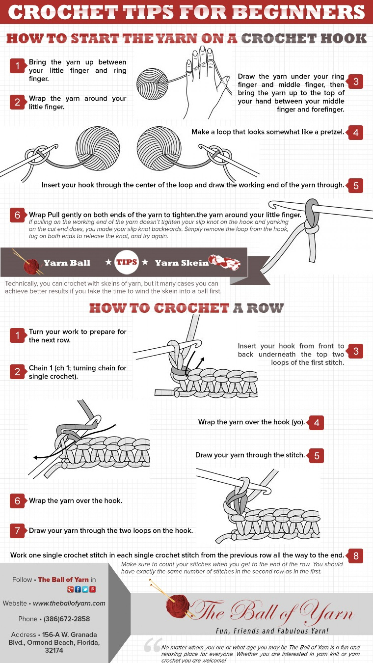 How To Crochet For Beginners : Crochet Tips for Beginners Infographic
