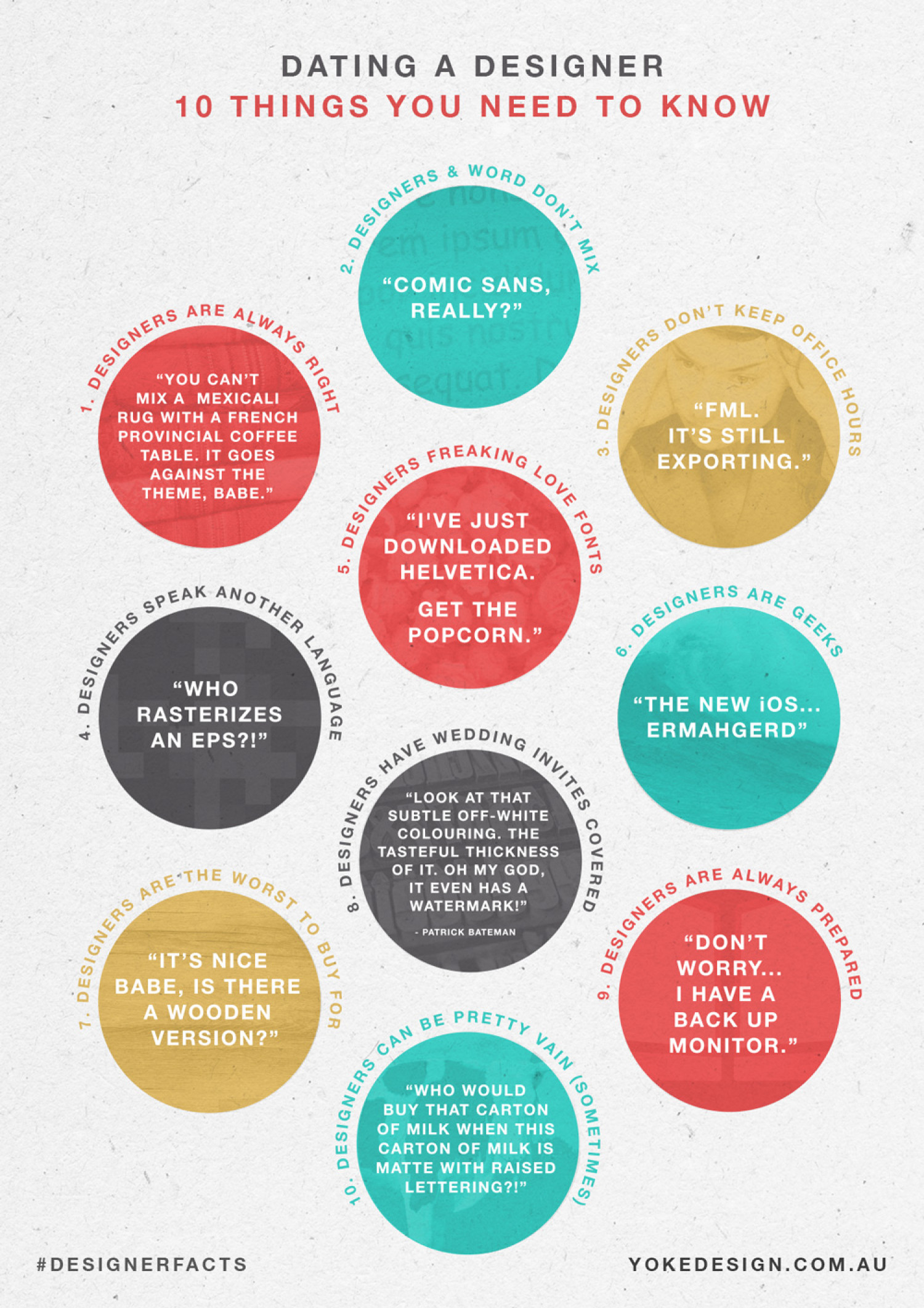 Dating a Designer: 10 Things You Need to Know Infographic