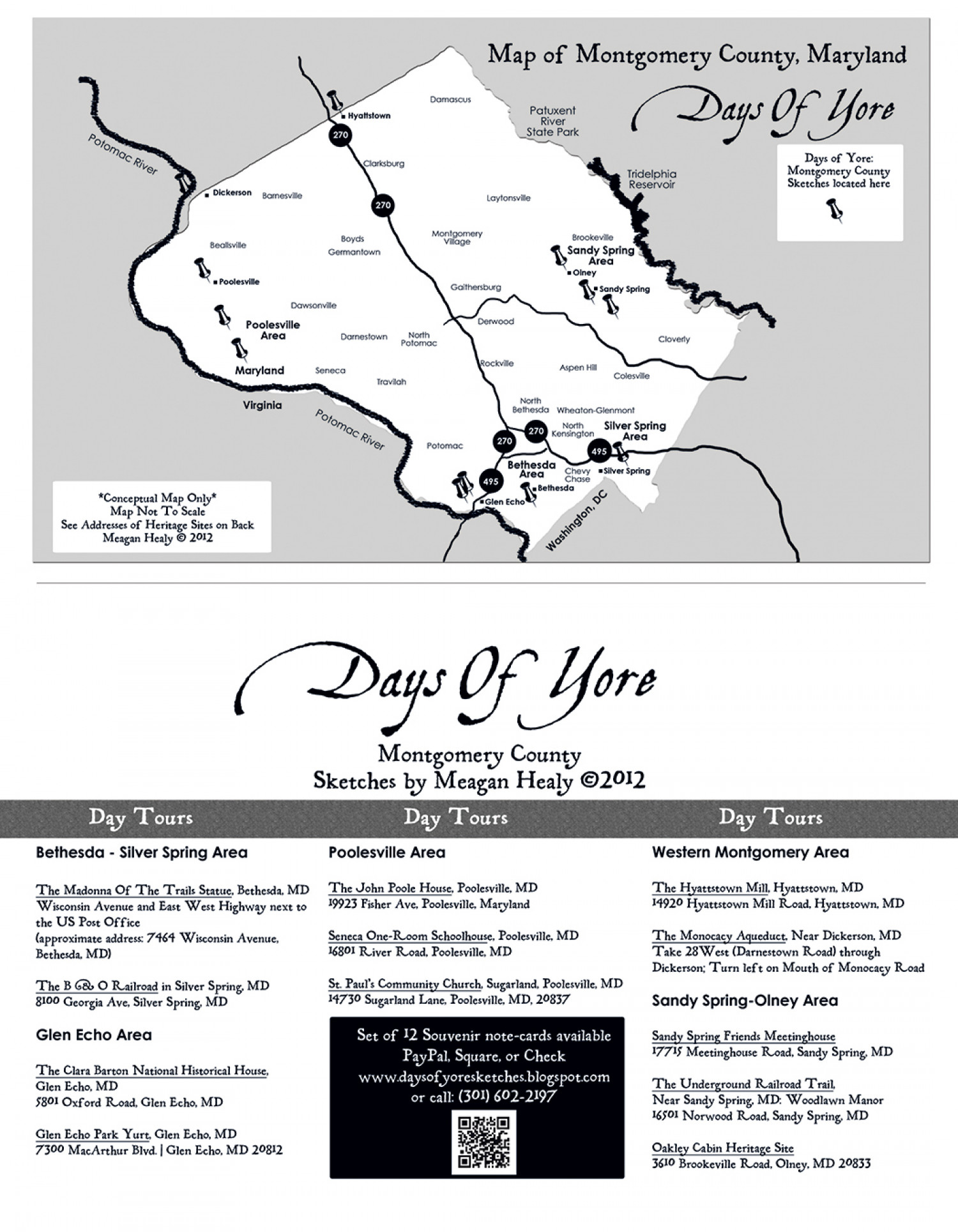 Days Of Yore: Sketches - Map of Day Tours Infographic