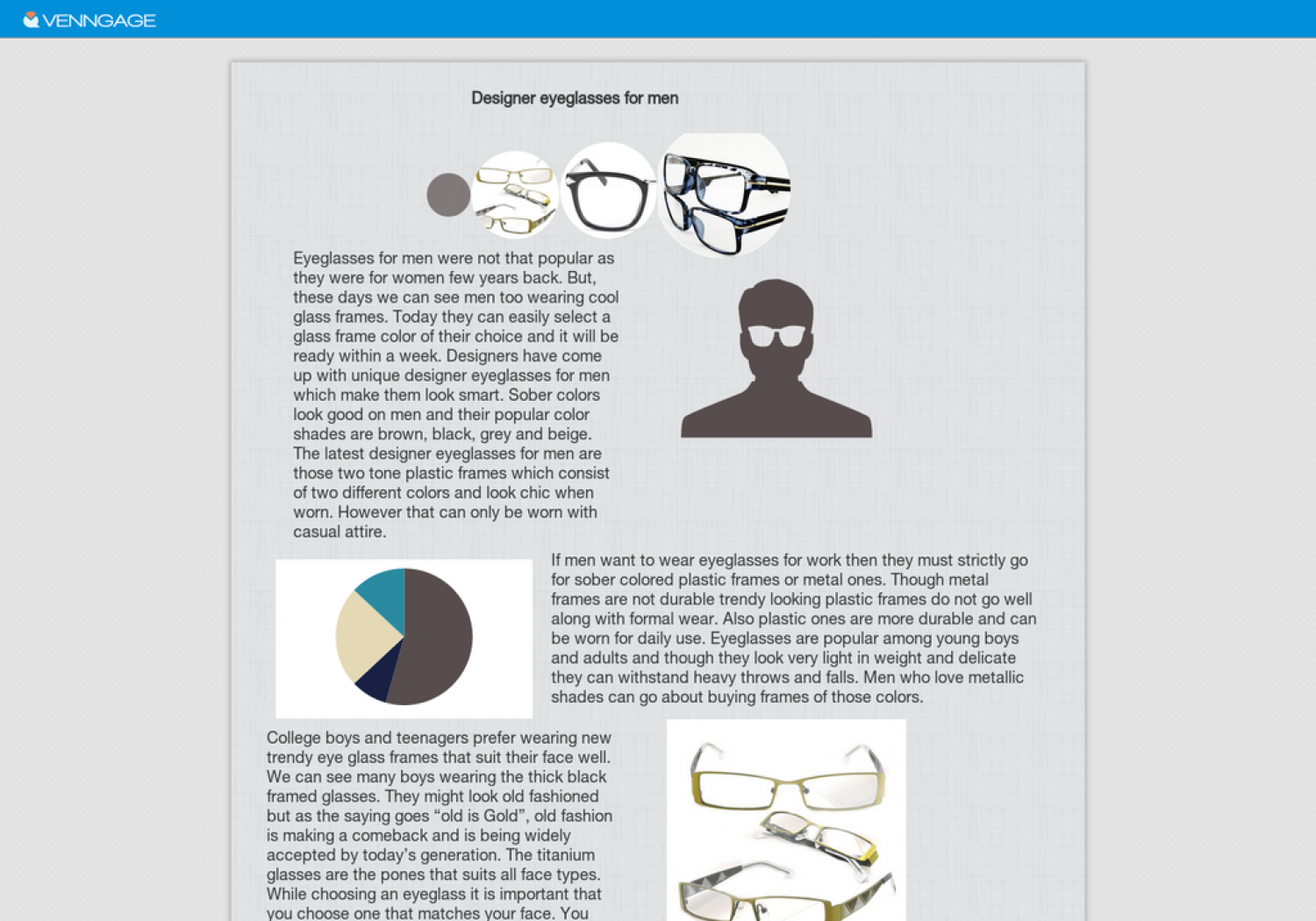 Designer eyeglasses for men Infographic