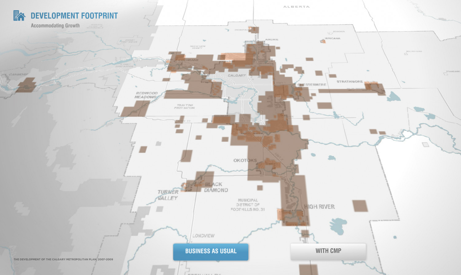Development footprint without the Calgary Metropolitan Plan Infographic