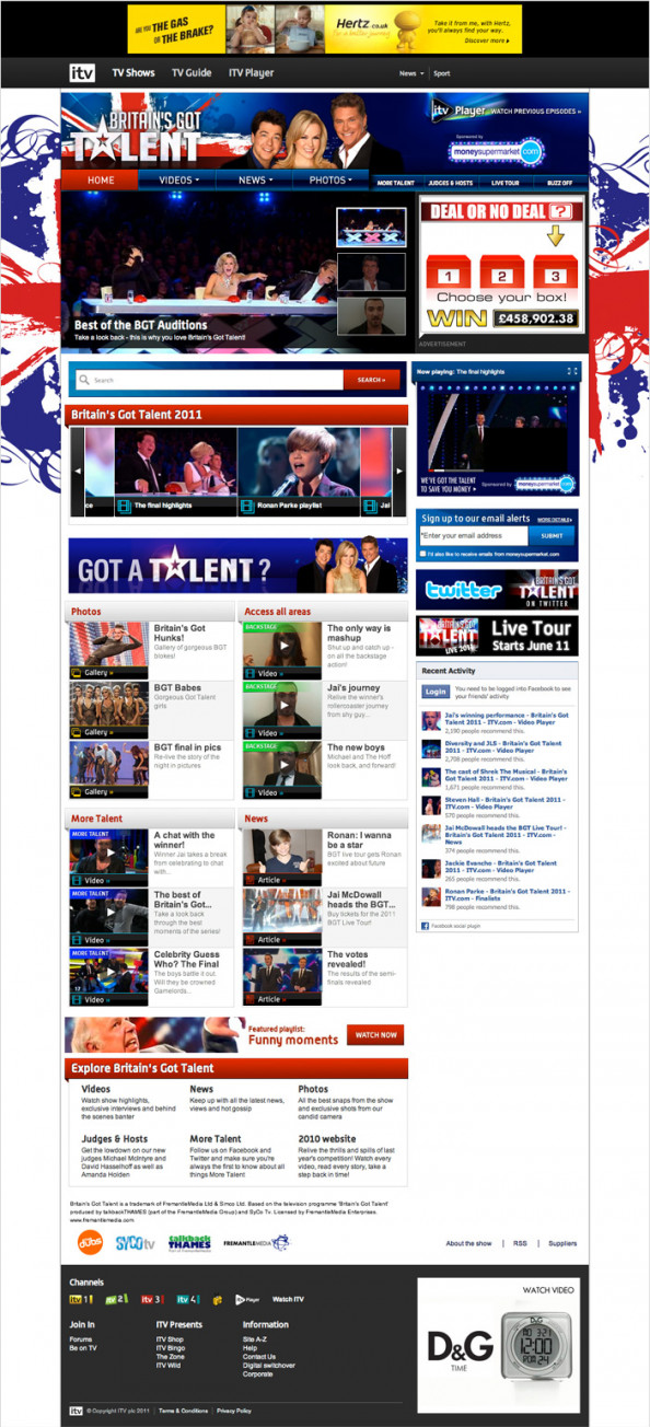 Development of the Britain's Got Talent website - 2011 Infographic