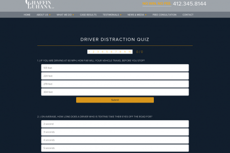 Distracted Driving Visualization Quiz Infographic