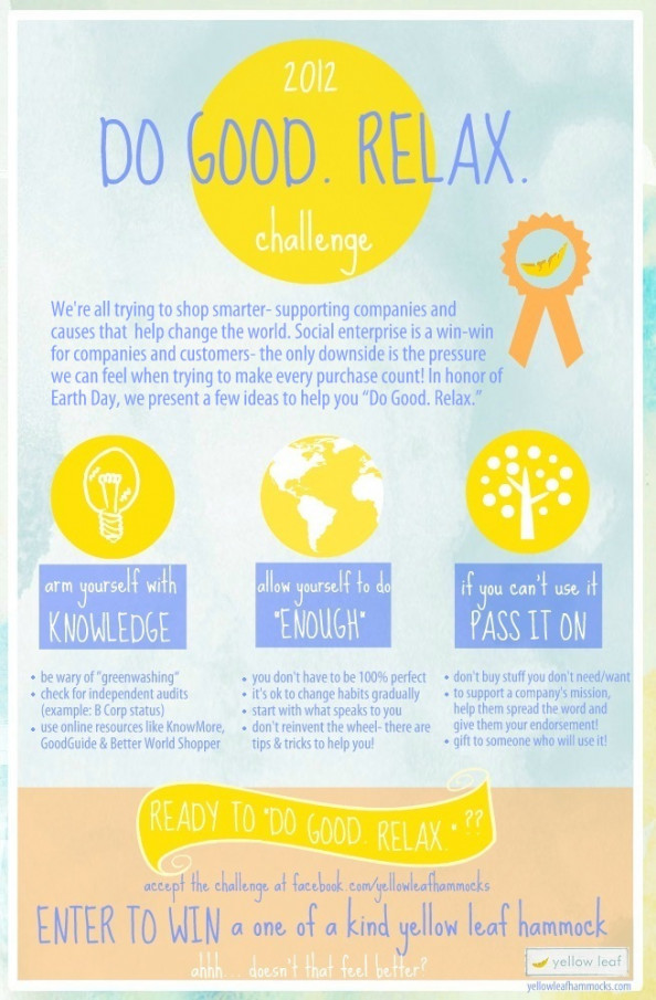 """Do Good. Relax."" Earth Day Challenge & Hammock Giveaway Infographic"