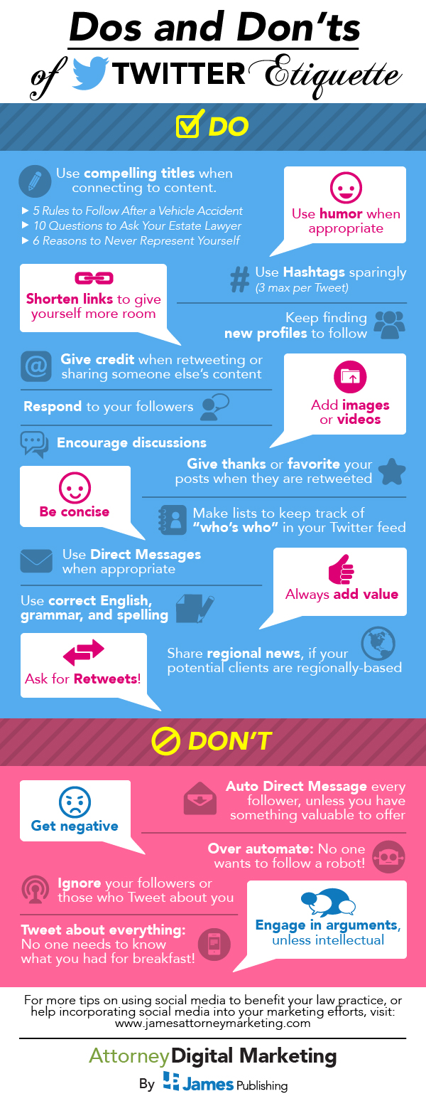 20+ Do's and Don'ts of Twitter Etiquette [INFOGRAPHIC] - tweeting, posting rules for better social media marketing