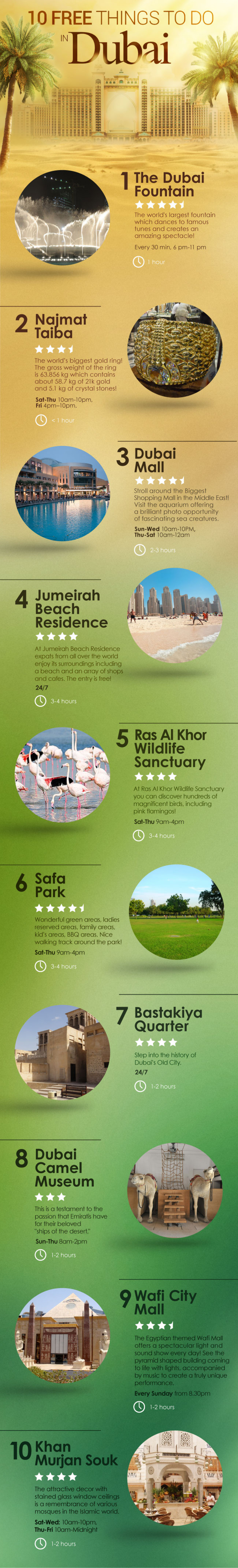10 Free Things To Do In Dubai Infographic