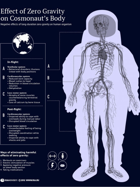 Effect of Zero Gravity on a Cosmonaut's Body Infographic