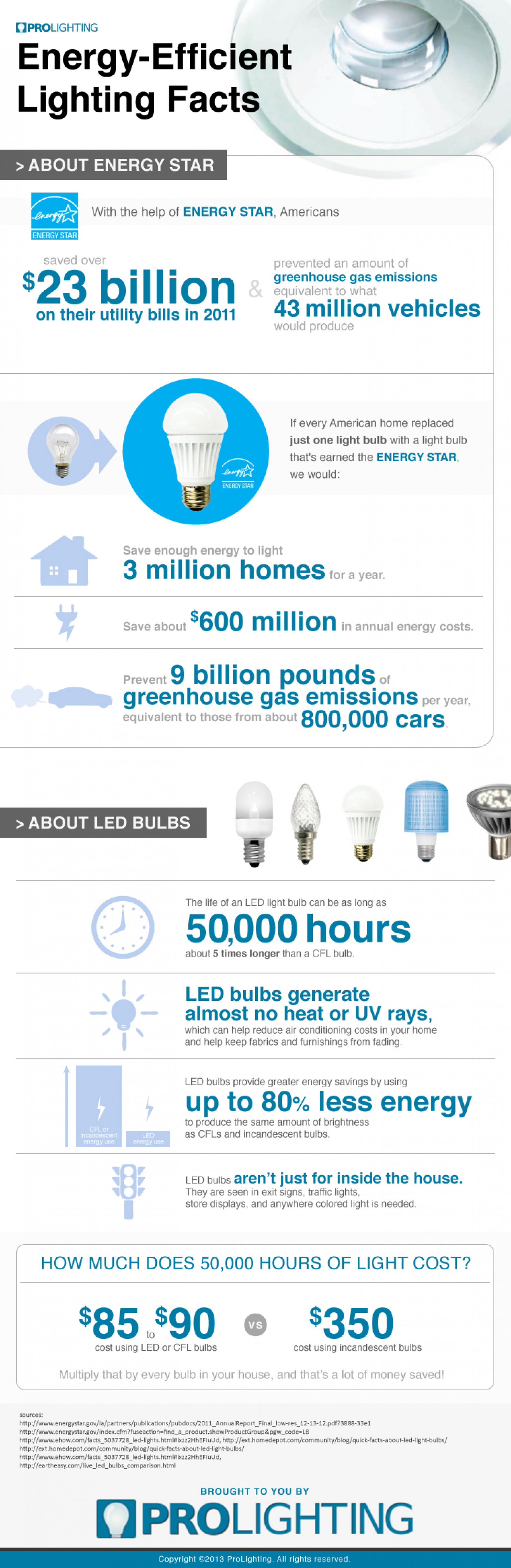 Energy Efficient Lighting Facts Infographic