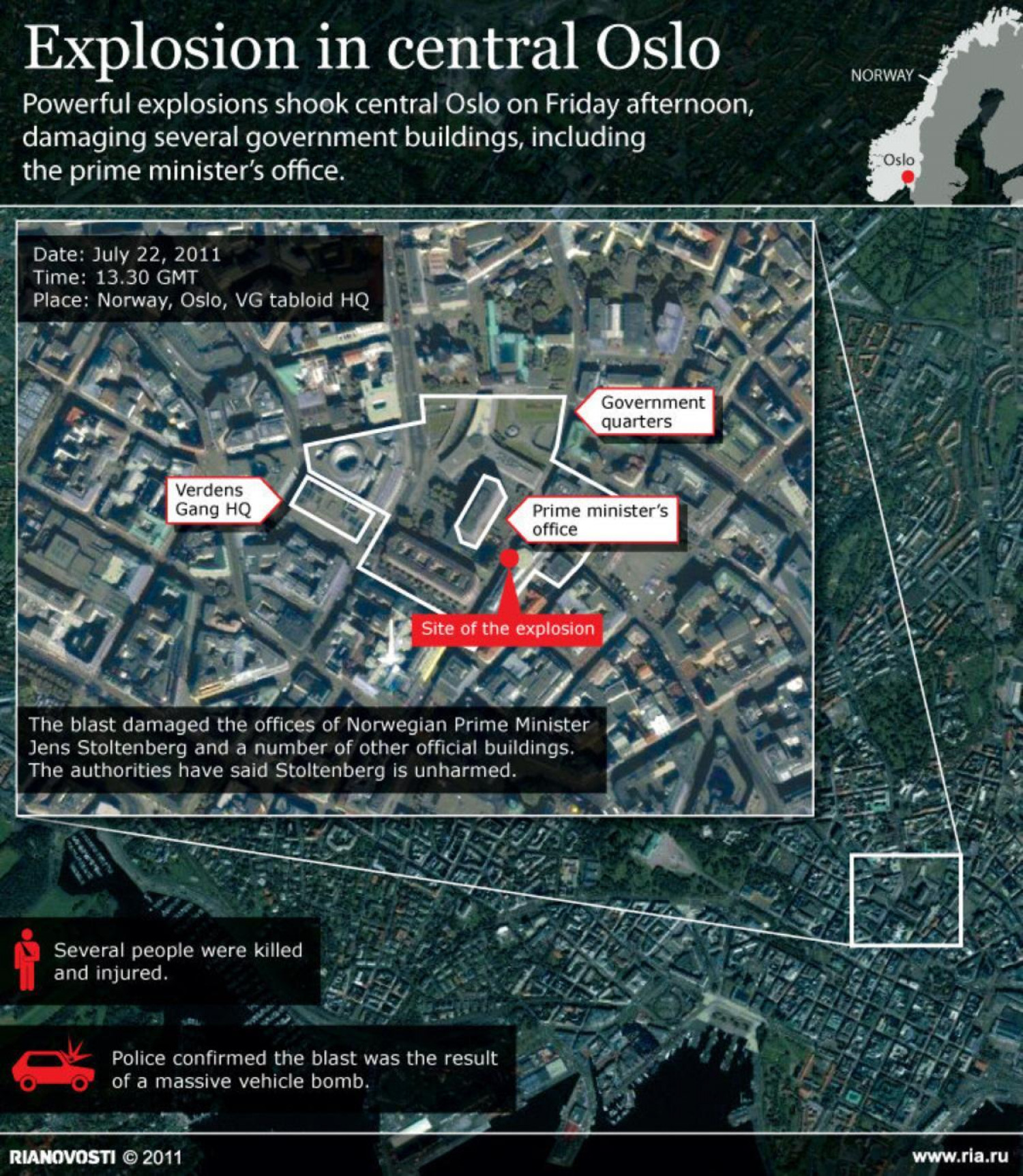 Explosion in Central Oslo  Infographic