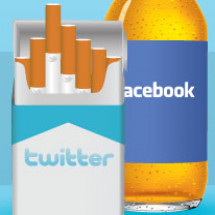 Facebook and Twitter as Addictive as Cigarettes & Alcohol Infographic