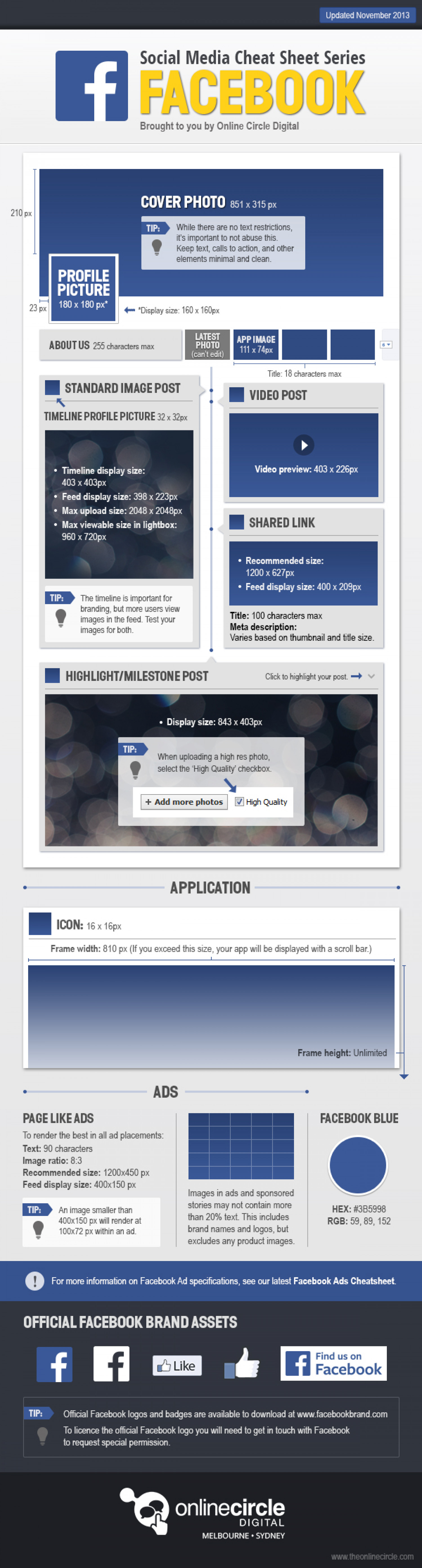 Facebook sizes and dimensions cheat sheet 2013 Infographic