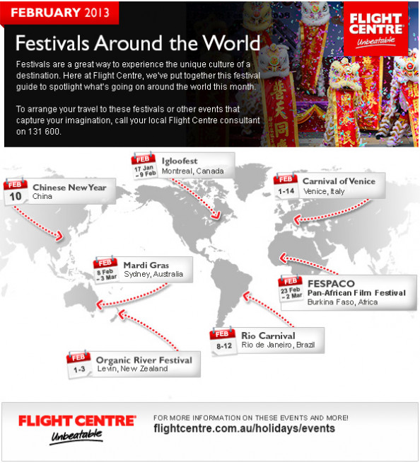February 2013 Festivals Around the World Infographic