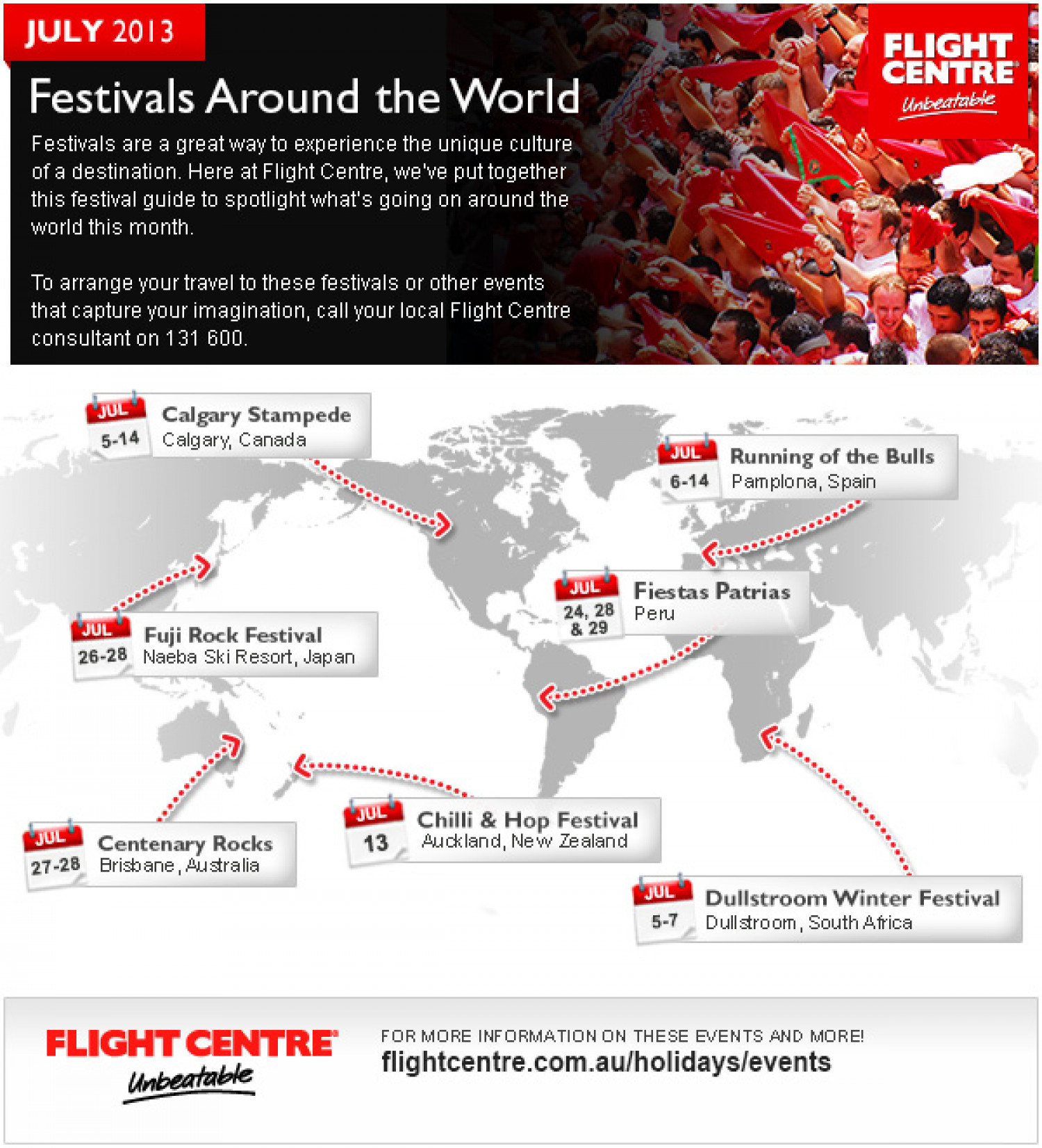 Festivals Around the World July 2013 Infographic