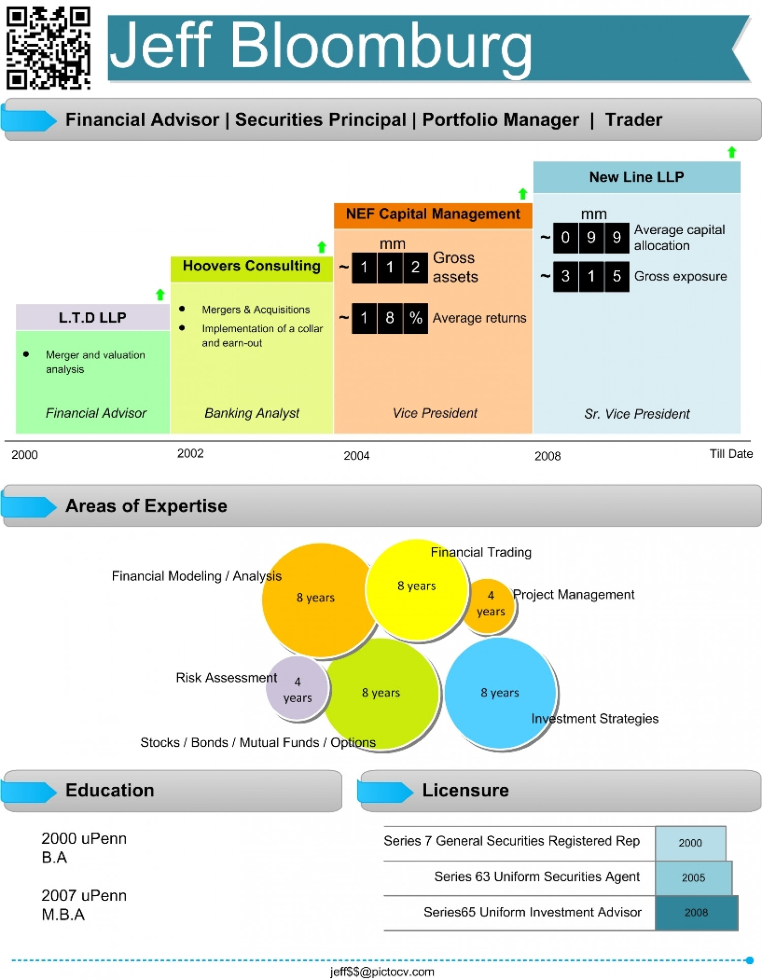 Financial Analyst Visual Resume Infographic