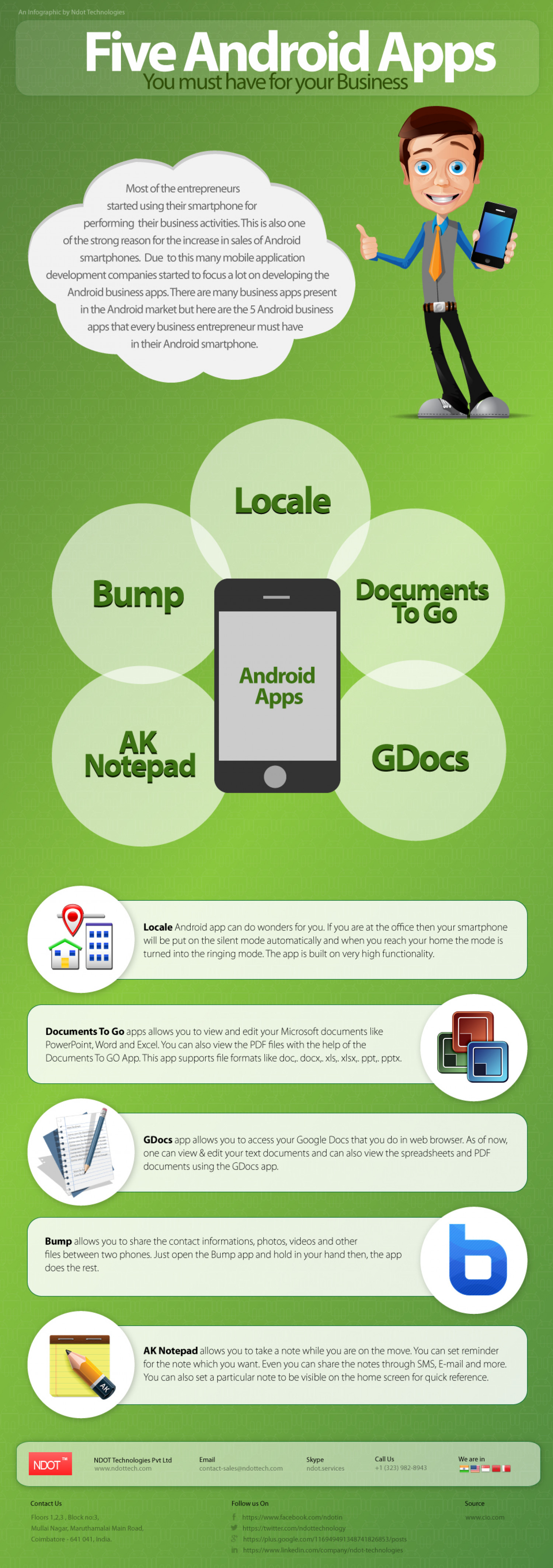 Five Android Apps That You Must Have For Your Business Infographic