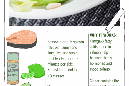 Food to Improve Your Mood: Steamed Salmon Salad with Grapefruit-Ginger Dressing Infographic