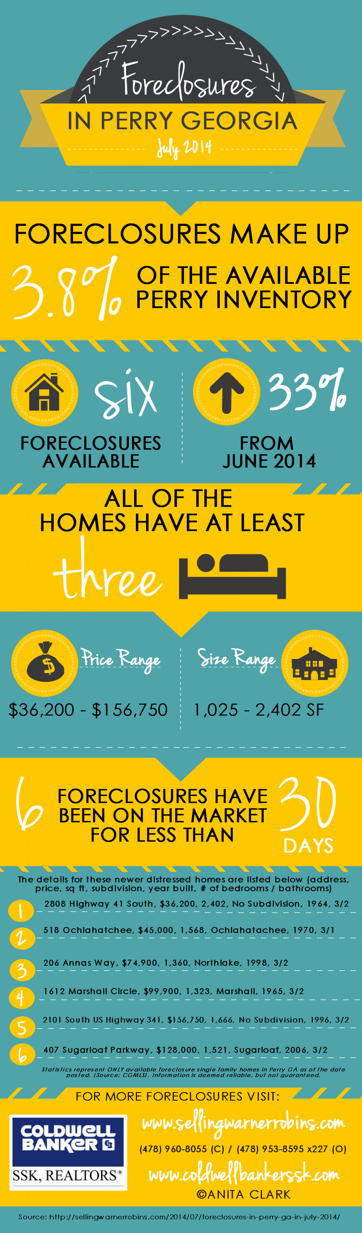 Foreclosures in Perry GA for July 2014 Infographic