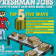 Freshman Jobs: Tips to Earn and Save Money at College Infographic