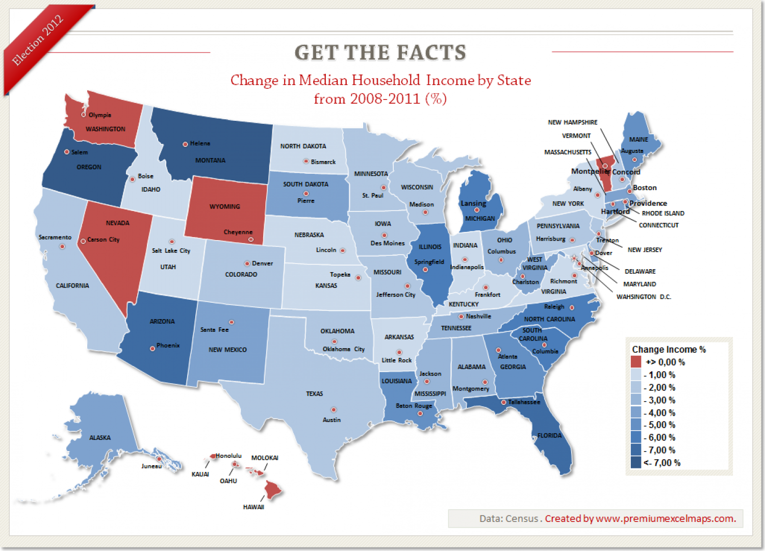 Get the Facts - Change in Median Household Income by State Infographic