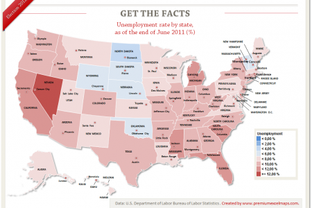 Get the Facts - Unemployment Rate by State in June 2011 Infographic