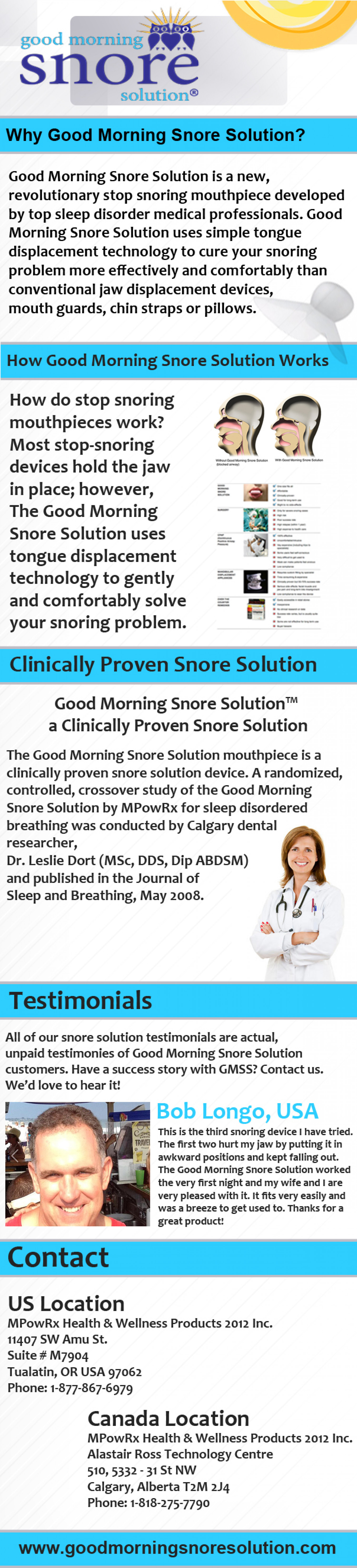 Good Morning Snore Solution Infographic