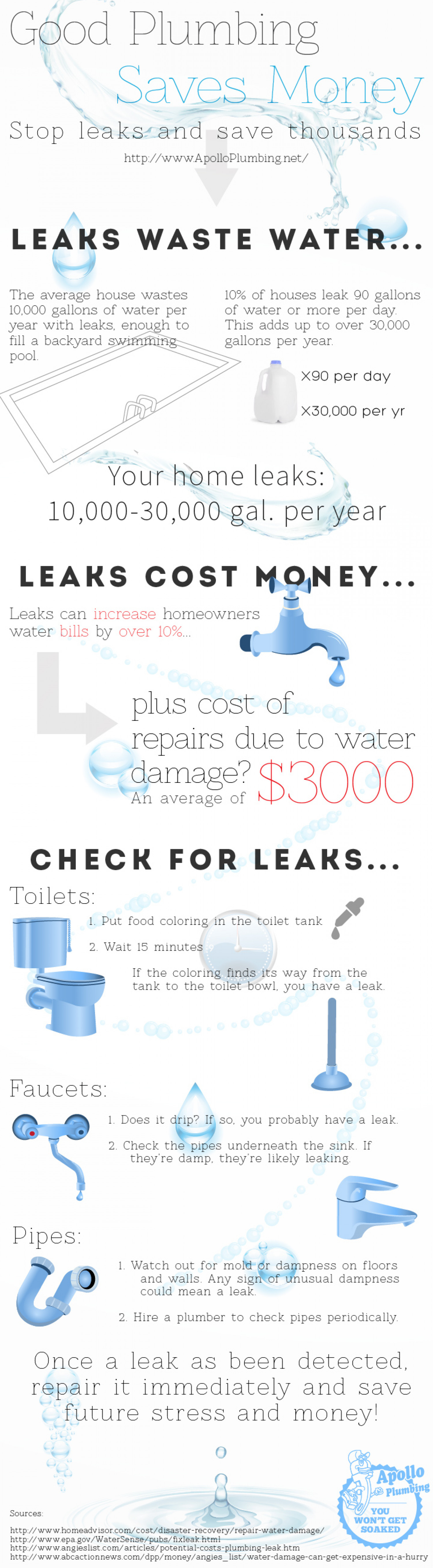 Good Plumbing Saves Money Infographic