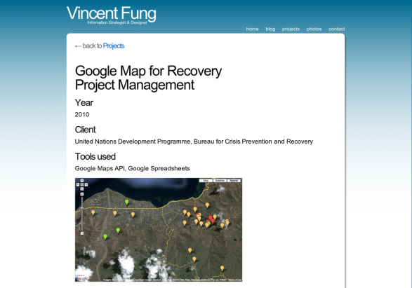 Google Map for Recovery Project Management